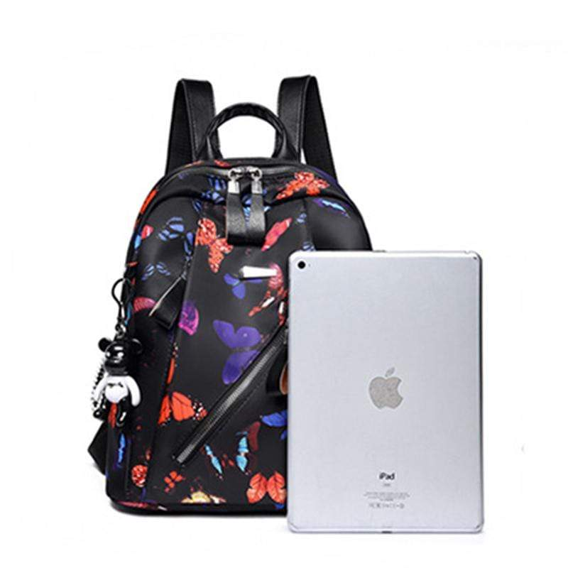 Obangbag Women Chic Printed Multi Pockets Large Capacity Daily Oxford Backpack for Travel