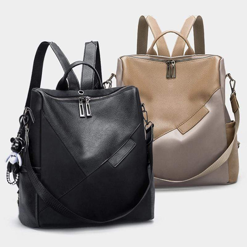 Obangbag Women Chic Retro Patchwork Lightweight Roomy Multifunction Nylon Leather Backpack Shoulder Bag