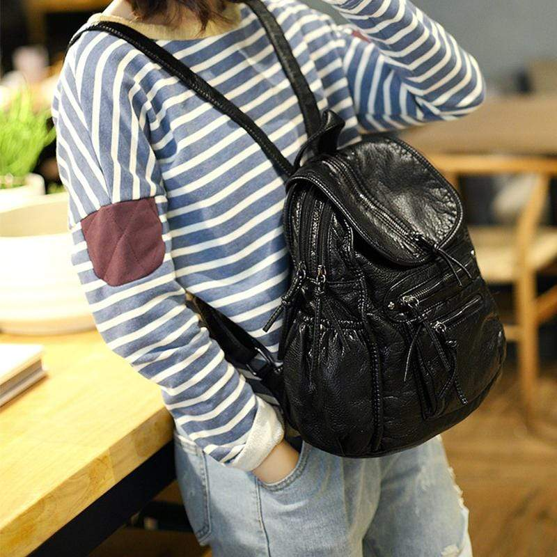 Obangbag Women Chic Retro Style Casual Multi Pockets Washable Leather Backpack for Traval