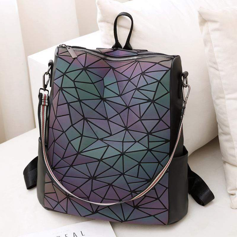 Obangbag Women Chic Roomy Vintage Multifunction Multi Pockets PU Backpack Shoulder Bag