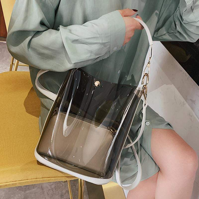 Obangbag Women Chic Street Big Large Capacity Transparent Clear PVC Plastic Handbag Shoulder Bag Crossbody Bag