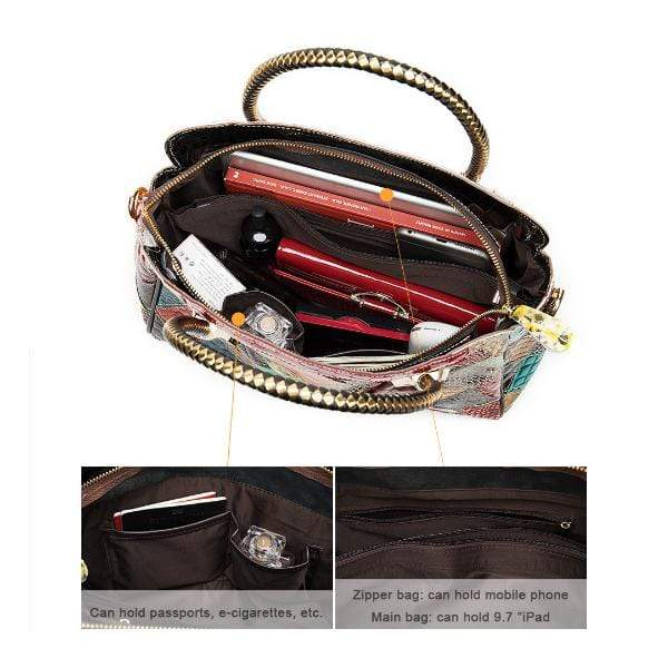 Obangbag Women Chic Street Vintage Roomy Colorful Genuine Leather Handbag Crossbody Bag