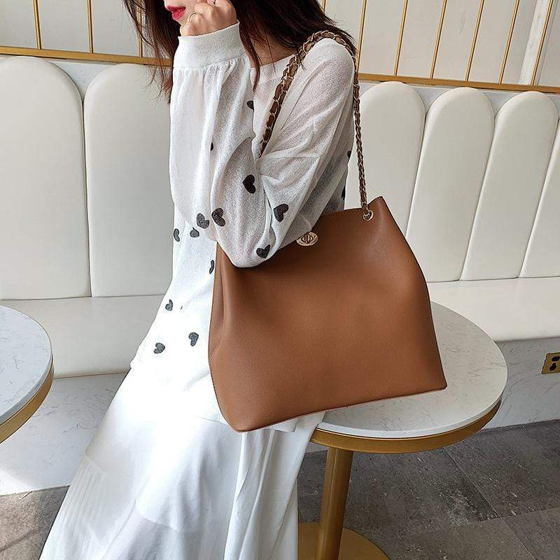 Obangbag Women Chic Stylish Casual Professional Big Roomy PU Leather Handbag Shoulder Bag Bag Set for Work