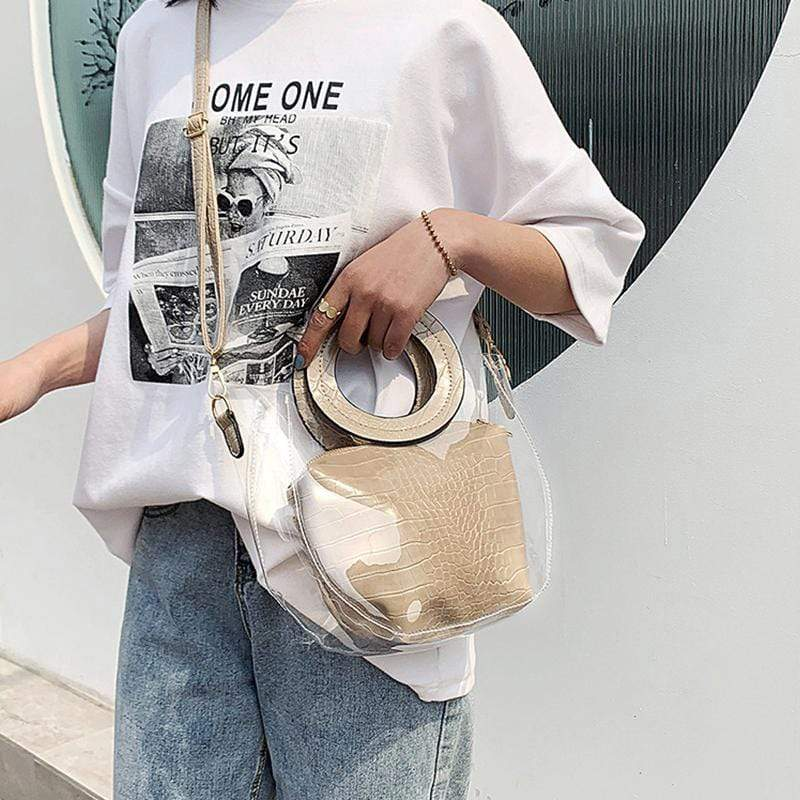 Obangbag Women Chic Stylish Clear Transparent Lightweight Roomy PVC Handbag Crossbody Bag Bag Set