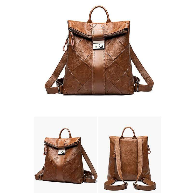 Obangbag Women Chic Stylish Large Capacity Patchwork Multifunction Genuine Leather Backpack for Work for Travel