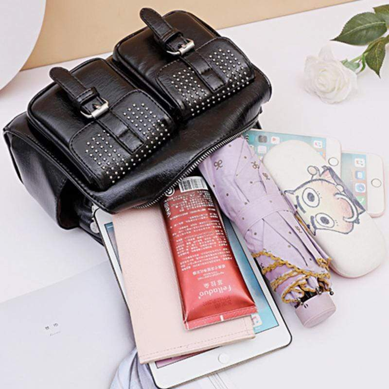 Obangbag Women Chic Stylish Multi Pockets Roomy Multifunction Leather Boston Bag Handbag Crossbody Bag Backpack