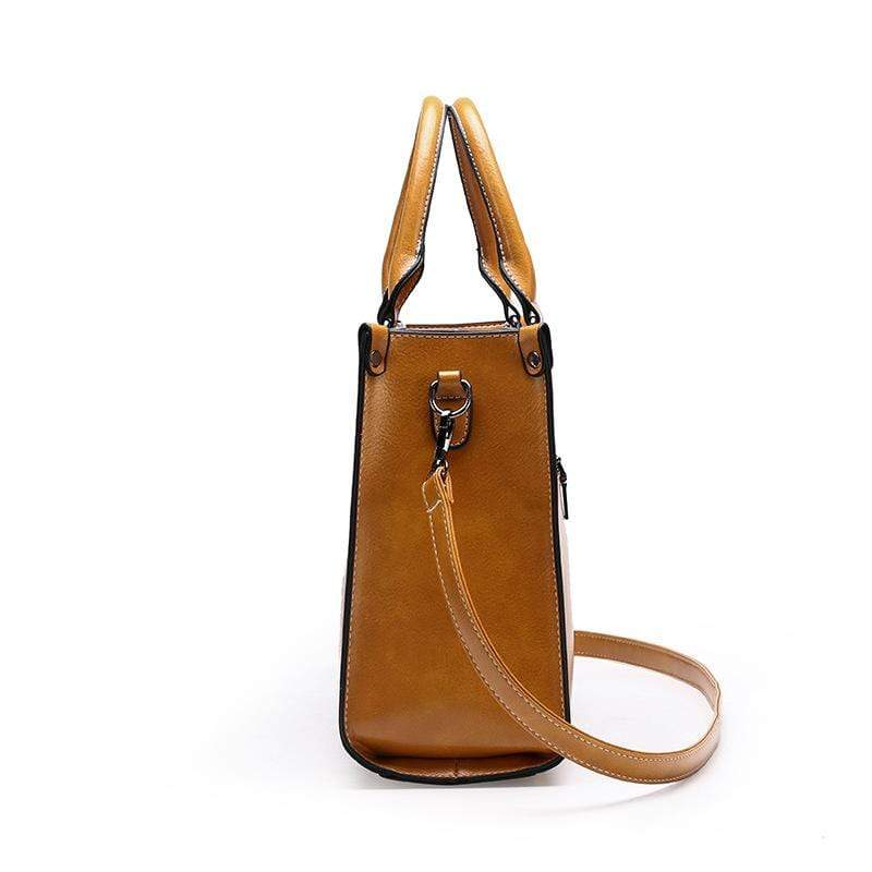 Obangbag Women Chic Stylish Professional Large Capacity Multi Pockets Oil Wax Leather Handbag Shoulder Bag Laptop Bag for Work
