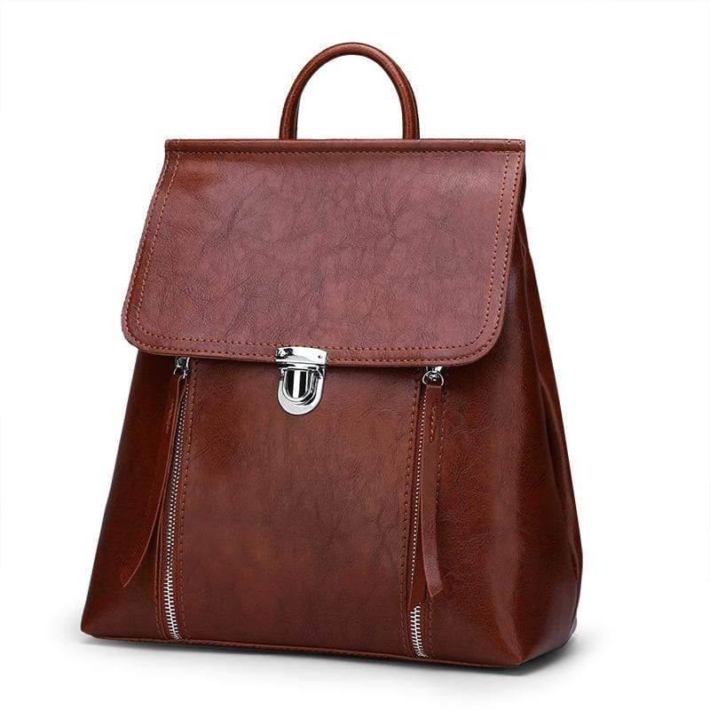 Obangbag Women Chic Stylish Retro Multifunction Roomy Leather Backpack Bookbag Shoulder Bag