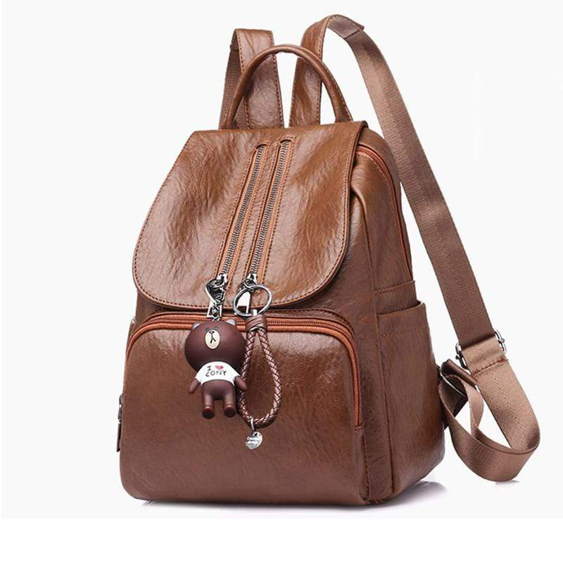 Obangbag Women Chic Stylish Roomy Lightweight Waterproof Soft Leather Backpack Bookbag