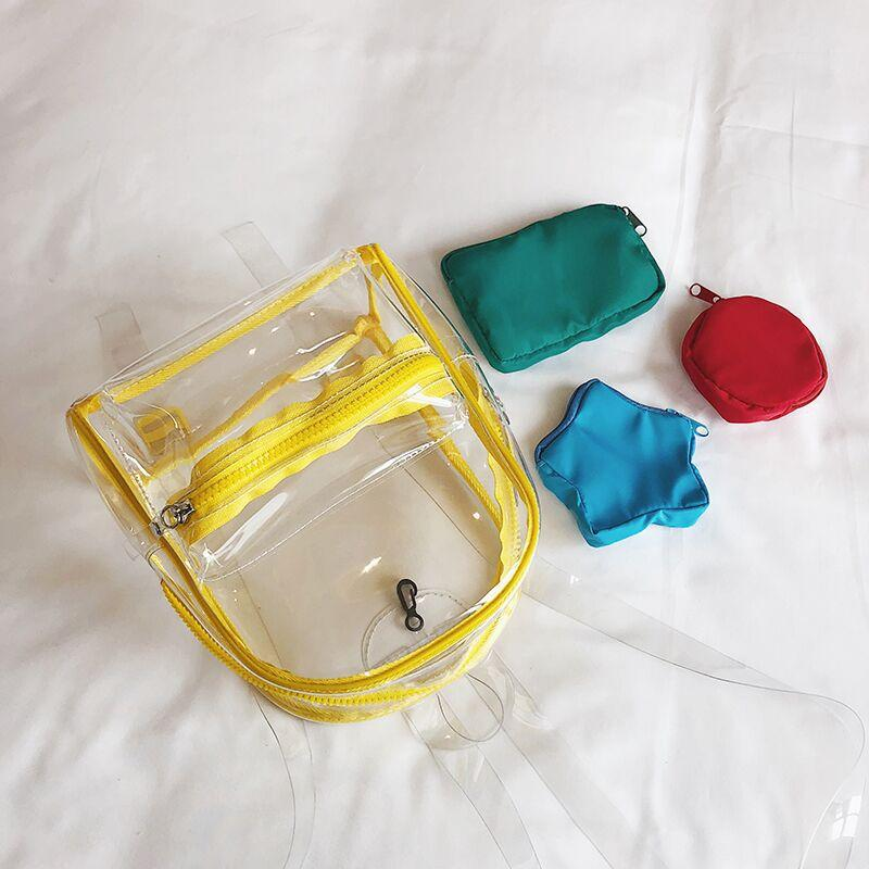 Obangbag Women Chic Summer See Through Clear Transparent Plastic PVC Backpack Bag Set Beach Bag