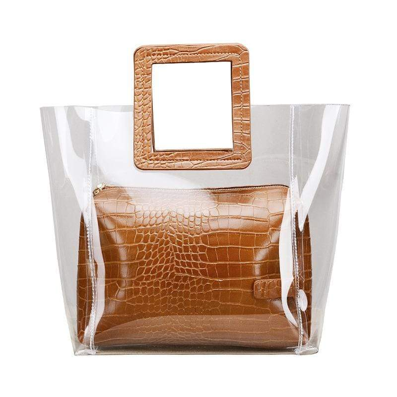 Obangbag Women Chic Summer Street Transparent Plastic PU Leather Clear Hangbag Bag Set for Work