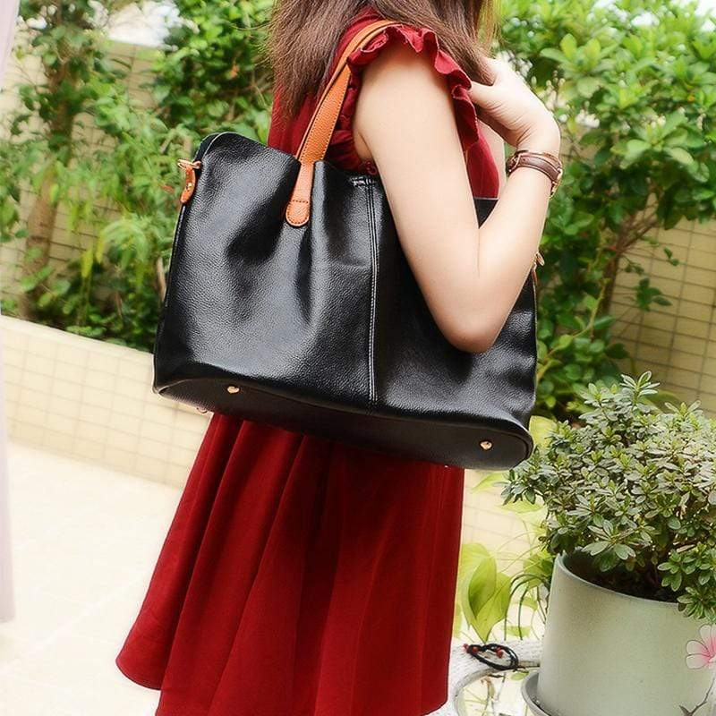 Obangbag Women Chic Vintage Large Capacity Multifunction Casual Soft Leather Tote Bag Handbag