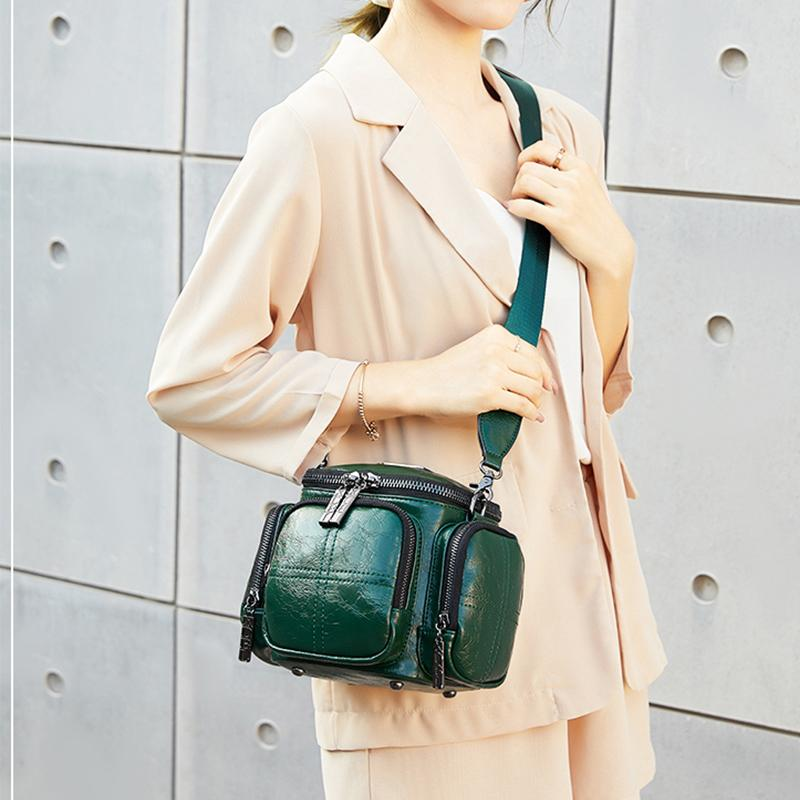 Obangbag Women Chic Vintage Multifunction Multi Pockets Square Oil Wax Leather Shoulder Bag Crossbody Bag