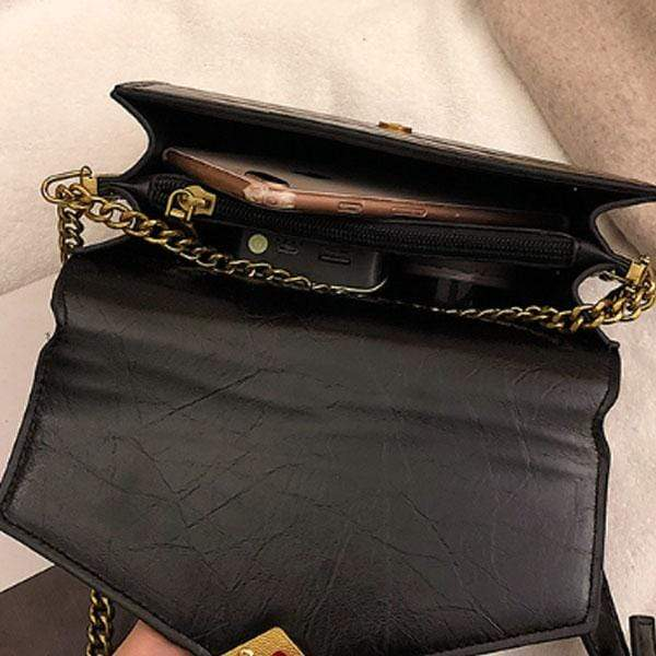 Obangbag Women Chic Vintage Stylish PU Leather Square Bag Messenger Bag Chain Bag Shoulder Bag