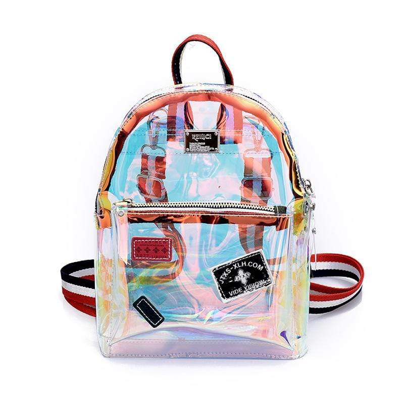 Obangbag Women Cute Girl Laser Luminous Clear Transparent Plastic Backpack Crossbudy Bag