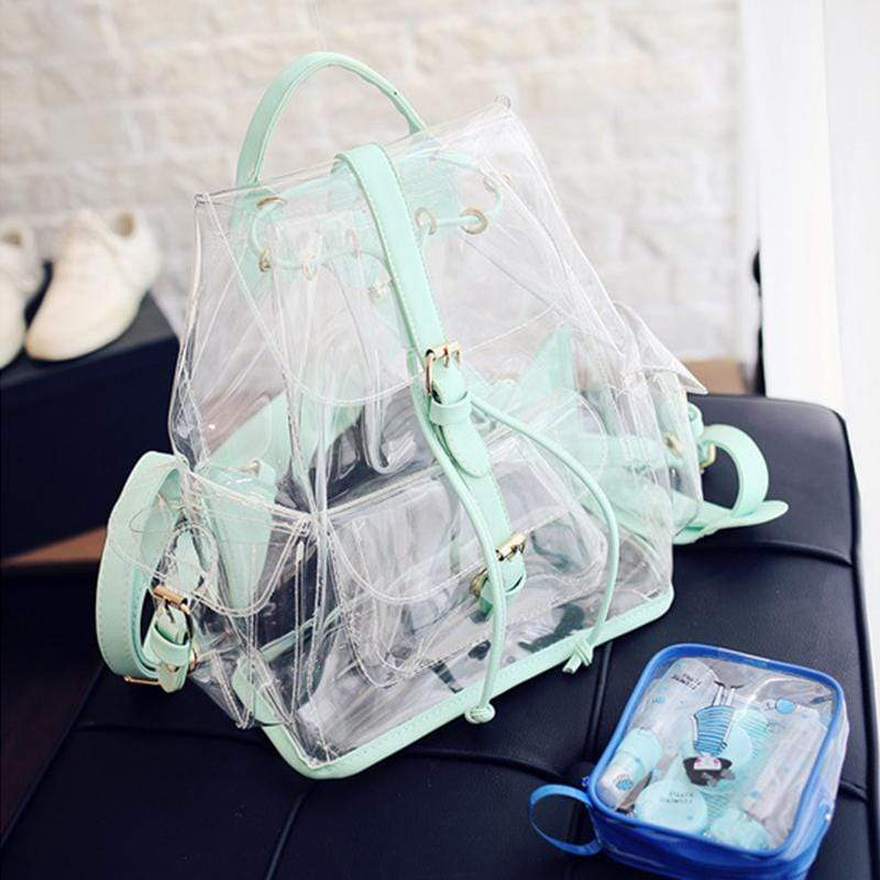 Obangbag Women Cute Girl Summer See Through Clear Transparent Plastic PVC Backpack Bookbag