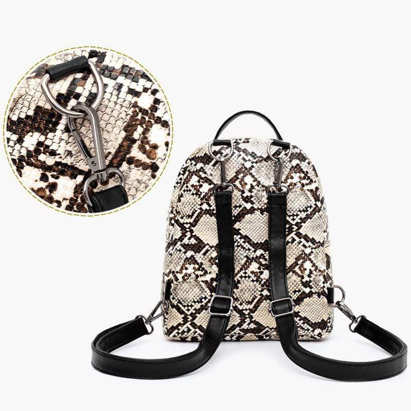 Obangbag Women Cute Vintage Roomy Lightweight Snake Skin Pattern Leopard Print Leather Backpack Shoulder Bag