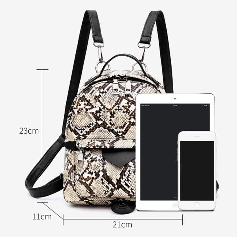 Obangbag Women Cute Vinutage Roomy Lightweight Snake Skin Pattern Leopard Print Leather Backpack Shoulder Bag