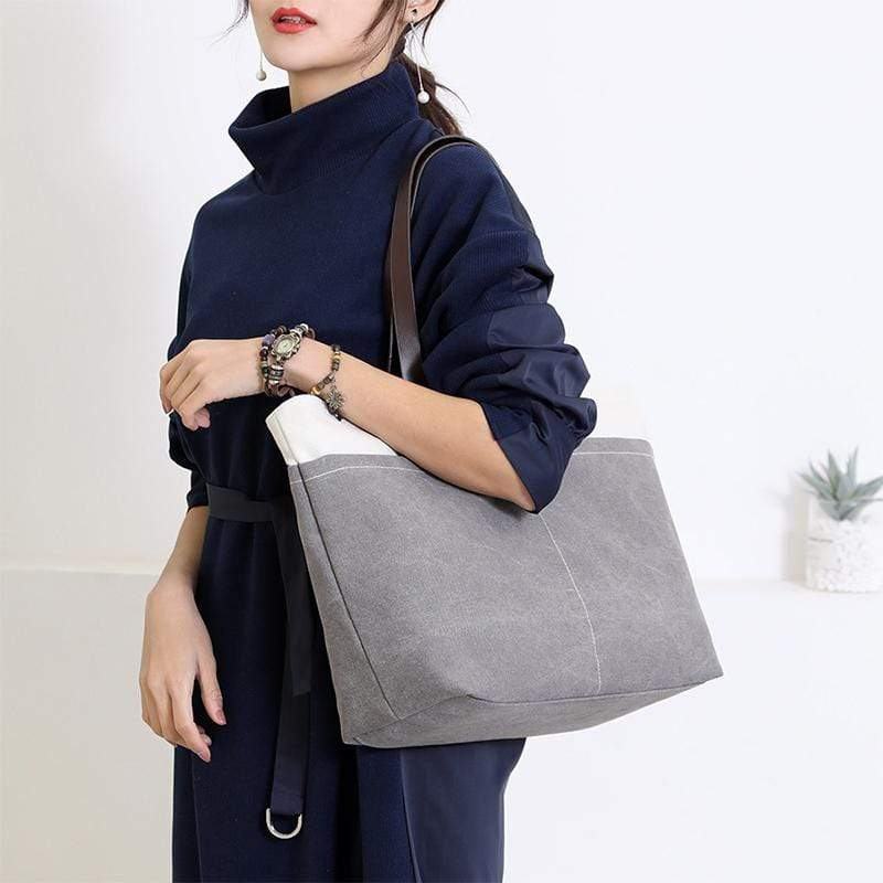 Obangbag Women Daily Casual Large Capacity Lightweight Canvas Handbag Tote Bag Shoulder Bag