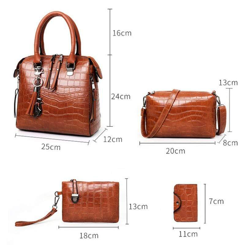 Obangbag Women Elegant Multifunction Large Capacity Crocodile Pattern Leather Handbag Crossbody Bag Purse Card Holder