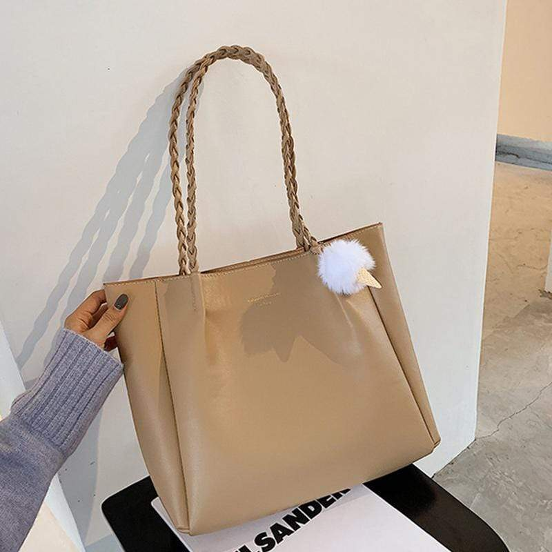 Obangbag Women Elegant Simple Large Capacity Professional Woven Leather Tote Bag Shoulder Bag