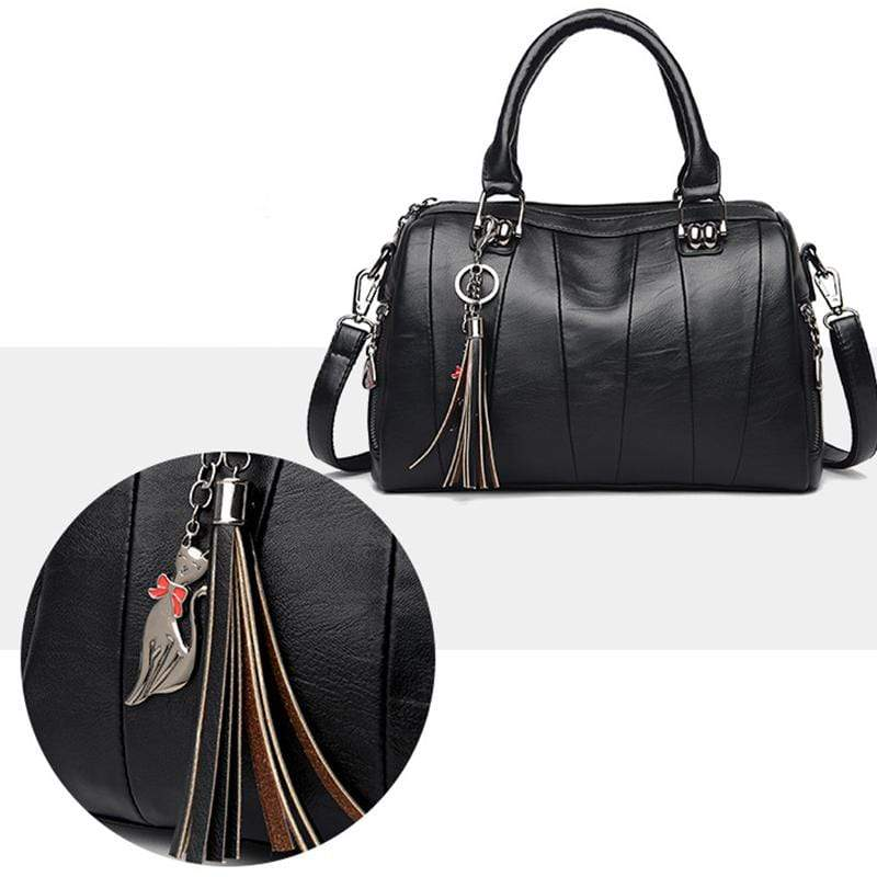 Obangbag Women Elegant Simple Roomy Lightweight Leather Boston Bag Handbag Crossbody Bag
