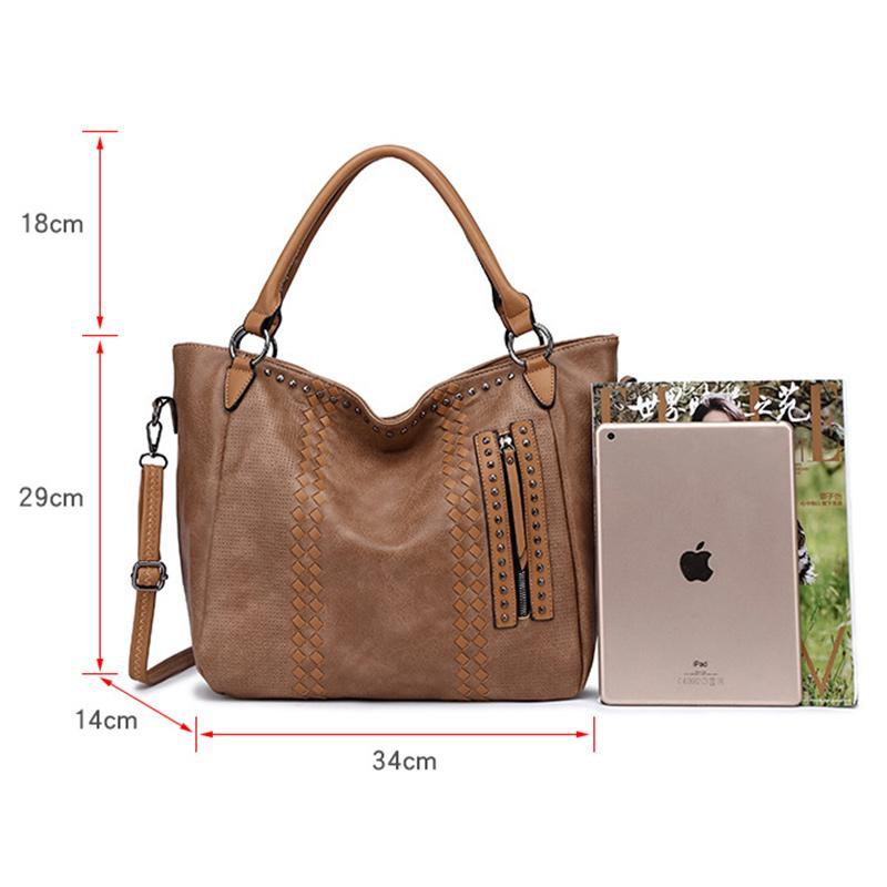 Obangbag Women Elegant Vintage Big Large Capacity Rivet Professional Leather Shoulder Bag Handbag Crossbody Bag