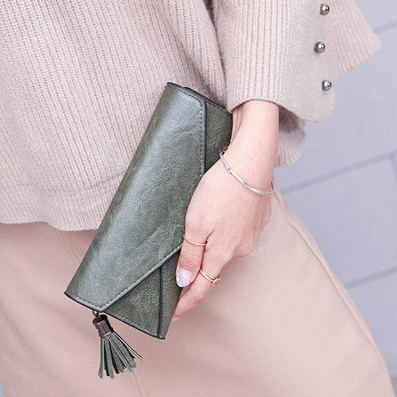 Obangbag Women Elegant Vintage Fringed Foldable Lightweight Leather Long Wallet Purse Clutch