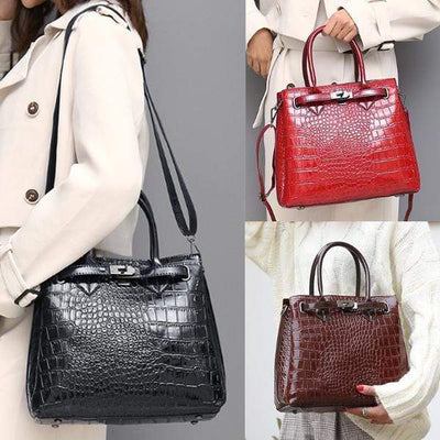 Obangbag Women Fashion Alligator Multi-Pocket Large Capacity Shoulder Tote