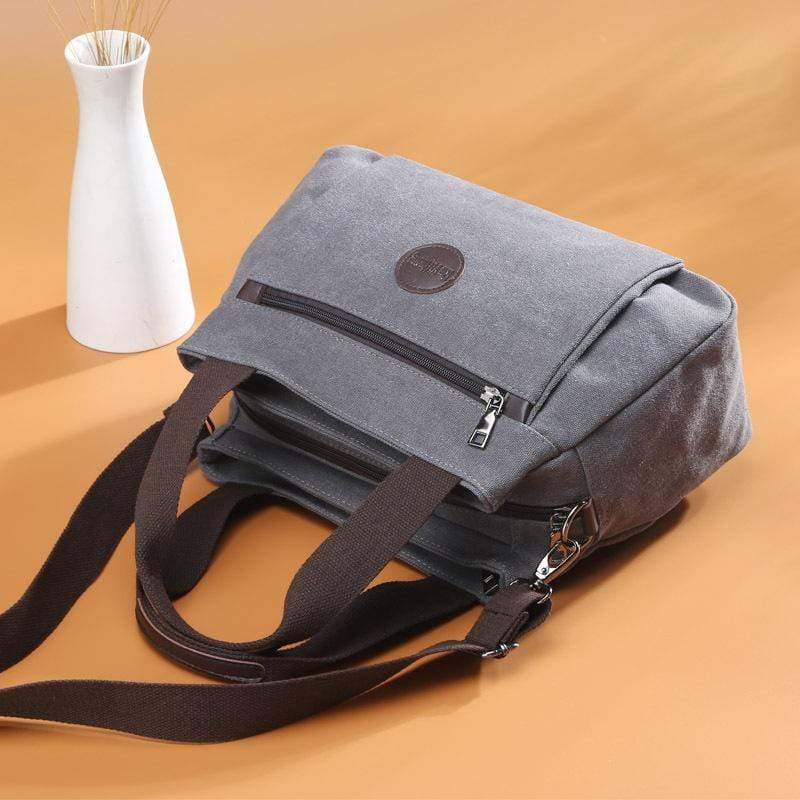 Obangbag Women Fashion Canvas  Multi Pocket Handbag Shoulder Bag Crossbody Bag