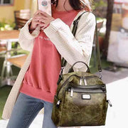 Obangbag Women Fashion Multi-Carry Soft Leather Work Backpack