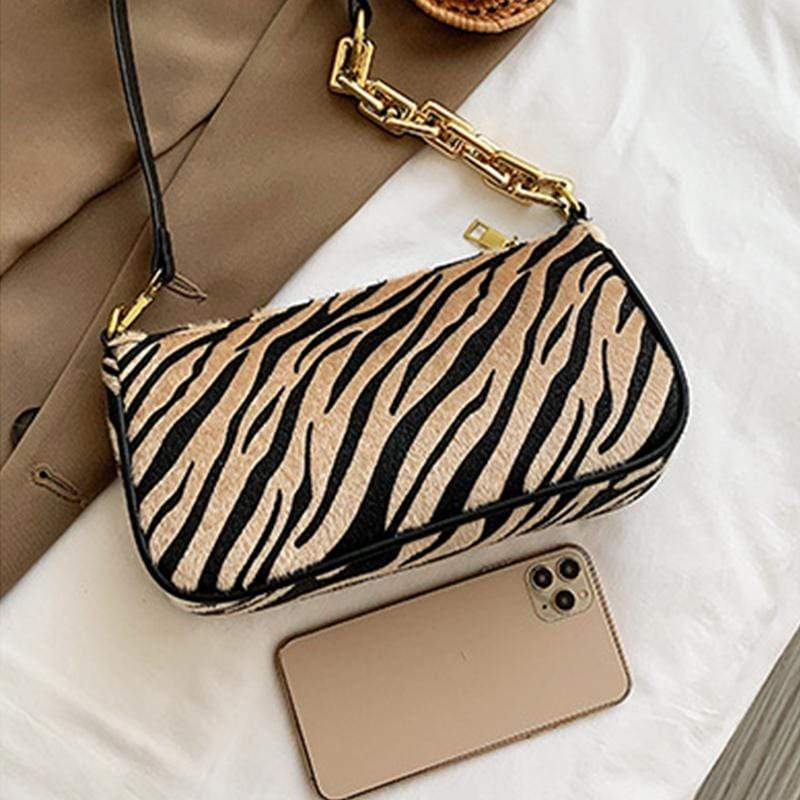 Obangbag Women Fashion Vintage Chic Roomy Lightweight Zebra Pattern Velvet Handbag Underarm Bag Baguette Bag