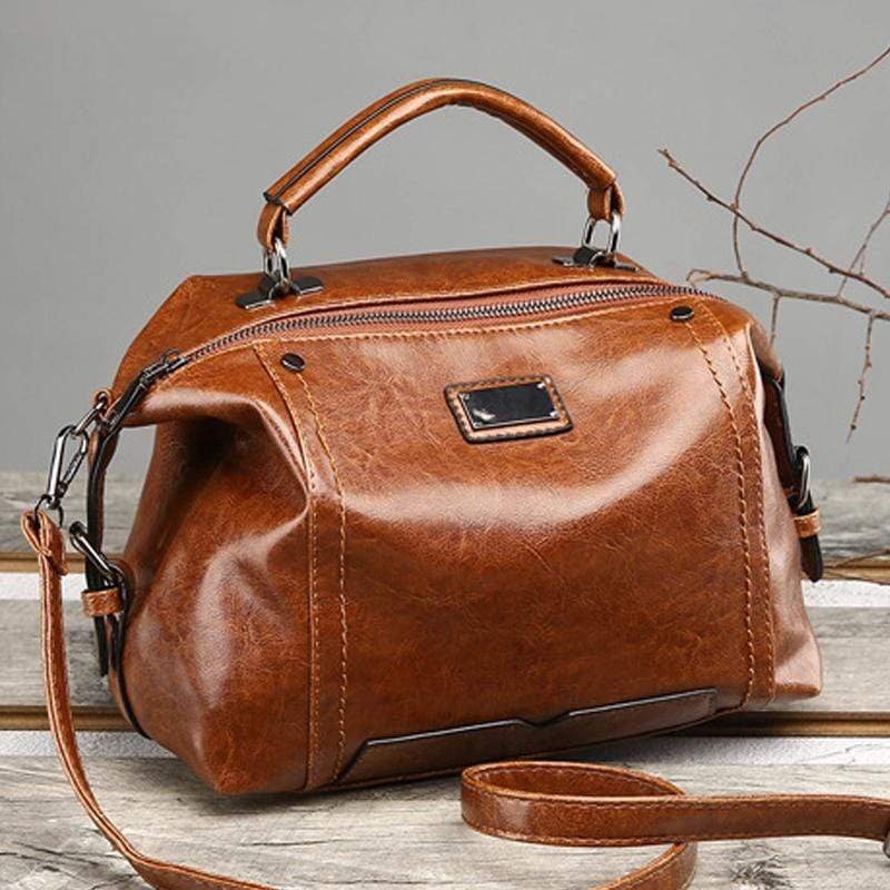 Obangbag Women Fashion Vintage Large Capacity Roomy Oil Wax Leather Handbag Crossbody Bag for Work