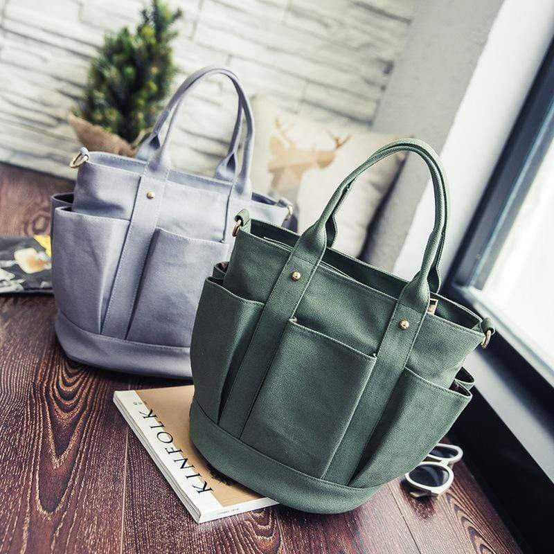 Obangbag Women Fashion Vintage Multi Pockets Multifunction Canvas Handbag Crossbody Bag Shoulder Bag
