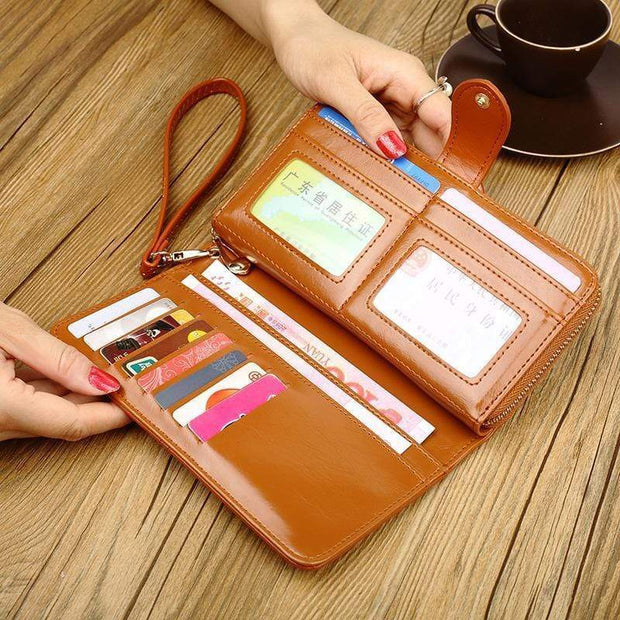 Obangbag Women Faux Leather  Long Clutch Bag Wallet Card Holder