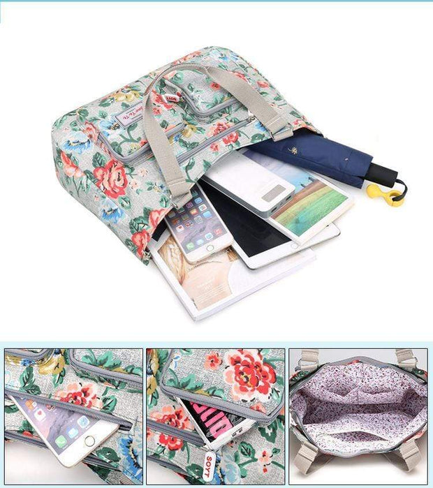 Obangbag Women Floral Print Multi Pockets Big Capacity Teacher Cloth Tote Bag