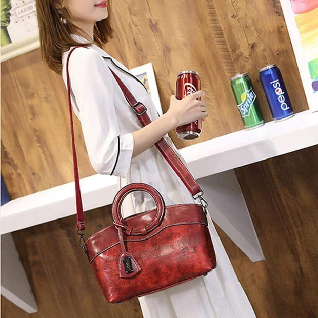 Obangbag Women Layered Messenger Bag Retro Vintage Handbag