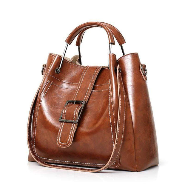 Obangbag Women Luxury 3 Pieces Bag Set Retro Oil Wax Leather Purse Handbag