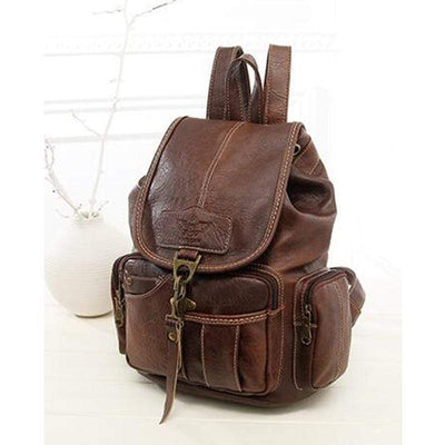 Obangbag Women Men Retro Faux Leather Vintage Shoulder Bag Satchel Backpack Muti-Pocket Bag
