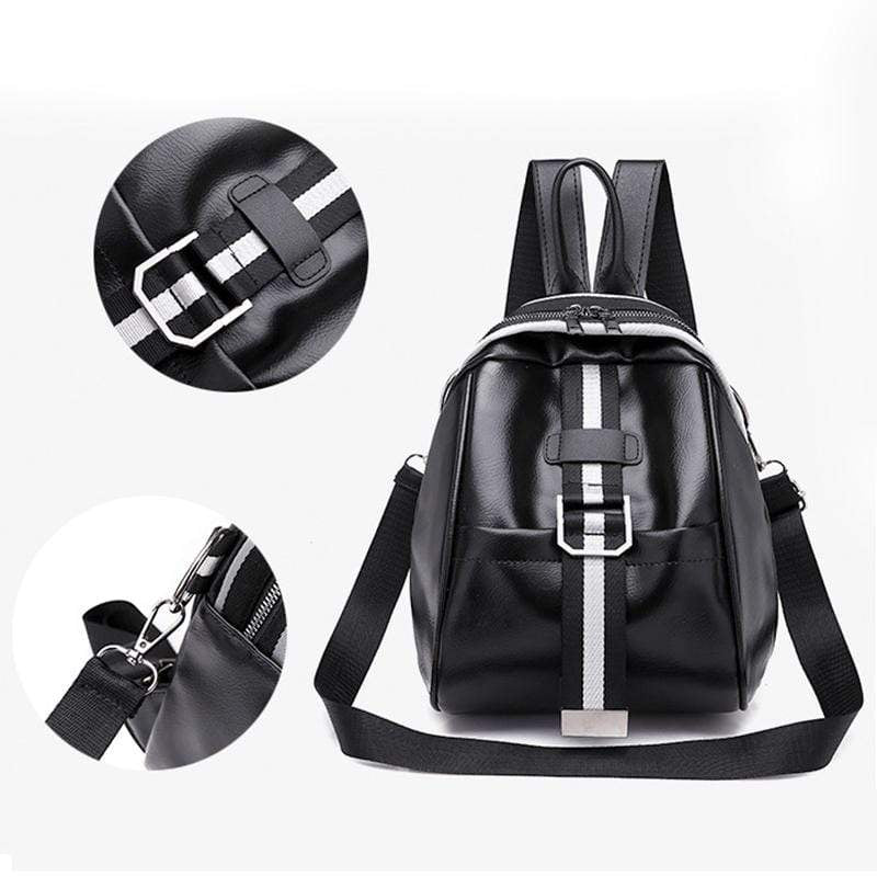Obangbag Women Mini Roomy Stylish Lightweight Double Zipper Multifunction Leather Backpack Shoulder Bag Crossbody Bag