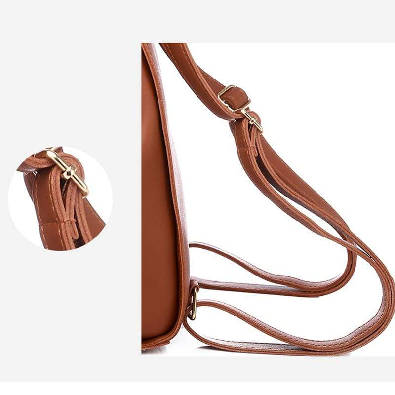 Obangbag Women Retro Chic Large Capacity Multifunction Square Leather Backpack  Crossbody Bag for School