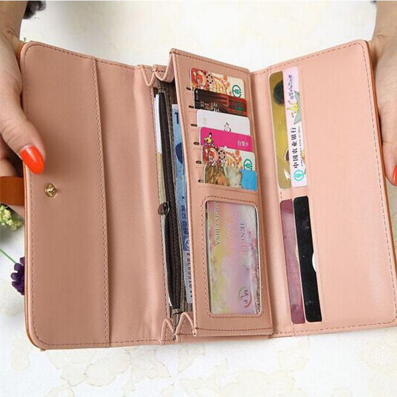 Obangbag Women Retro Chic Multi Pockets Lightweight Leather Clutch Purse Long Wallet