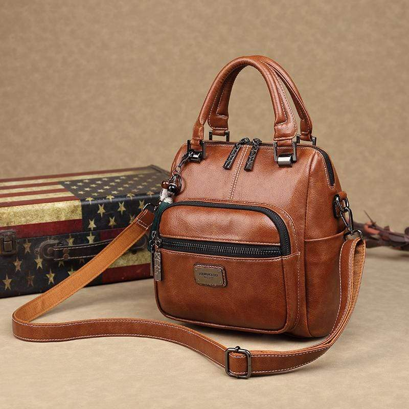 Obangbag Women Retro Chic Multi Pockets Multifunction Roomy Double Zipper Oil Wax Leather Backpack Handbag
