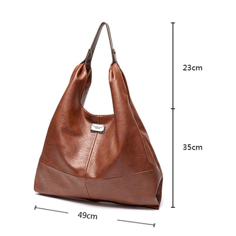 Obangbag Women Retro Elegant Vintage Professional Big Large Capacity Soft Leather Shoulder Bag Handbag