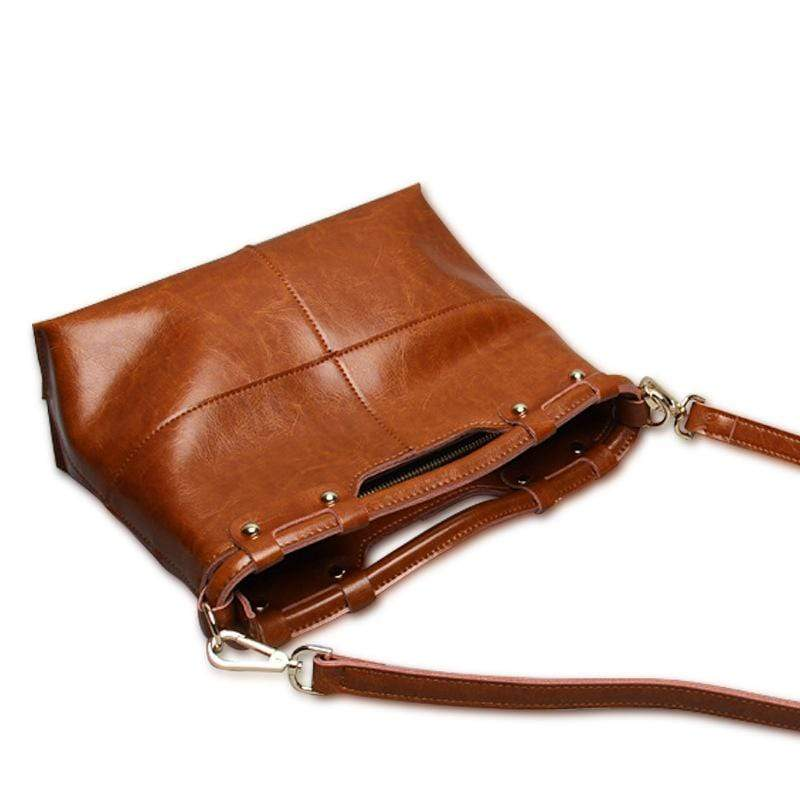 Obangbag Women Retro Large Capacity Daily Professional Genuine Leather Handbag Crossbody Bag for Work