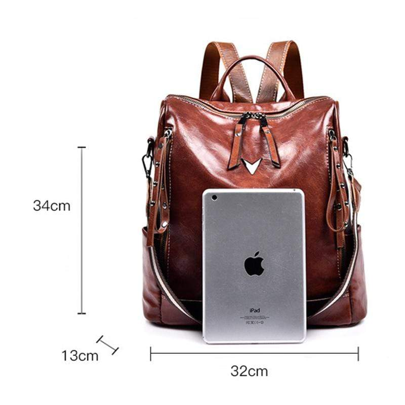 Obangbag Women Retro Multifunction Roomy Professional Oil Wax Leather Backpack Shoulder Bag for Work