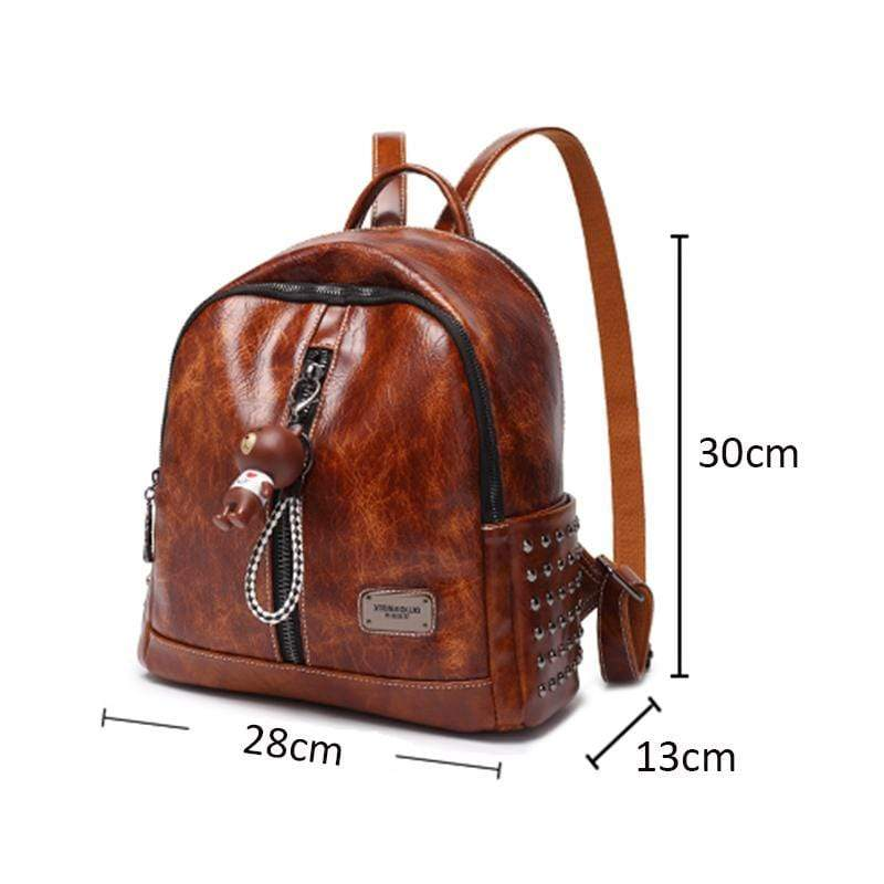 Obangbag Women Retro Oil Wax Leather Multi Pockets Large Capacity Backpack