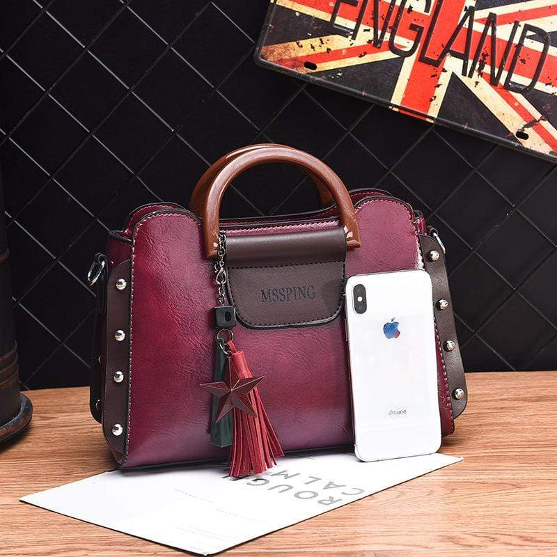 Obangbag Women Retro Stylish Tassel Leather Handbag Crossbody Bag