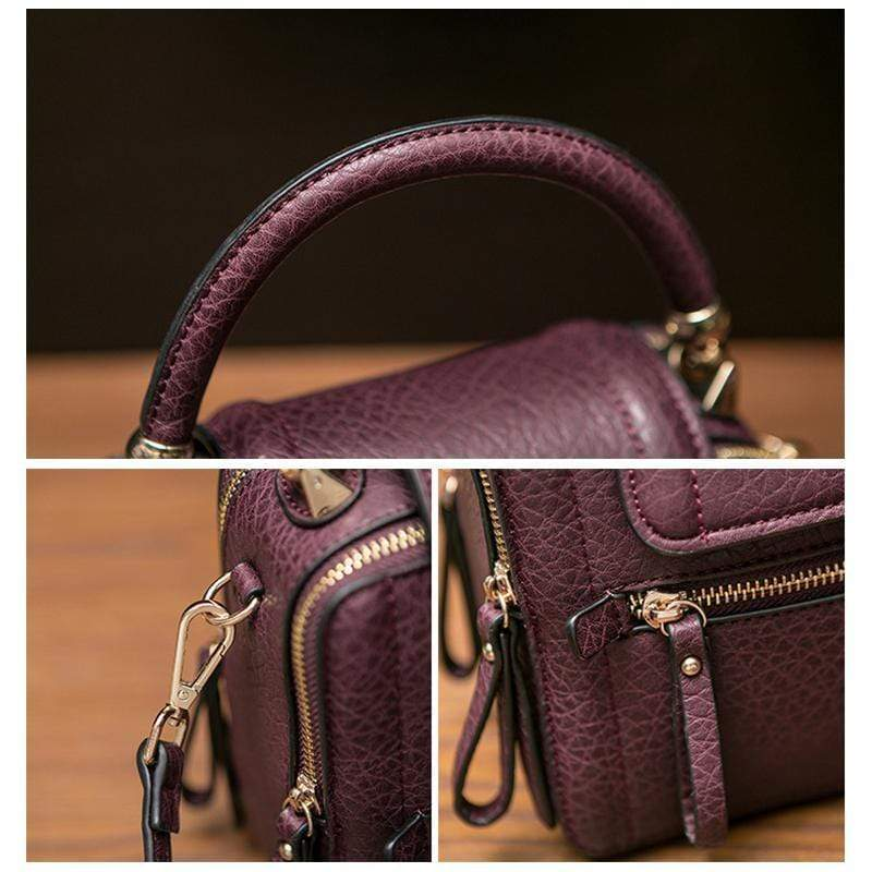 Obangbag Women Retro Vinage Multi Pockets Small Square Leather Bag Phone Bag Mini Crossbody Bag