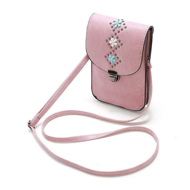 Obangbag Women Retro Vintage Flower Rivet Leather Phone Bag Purse